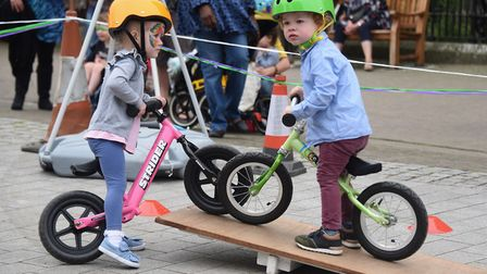Finlay Pinnock, two, right, meets an obstacle on the bike course as he comes face to face with Ave B