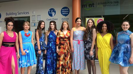 Fashion models wearing sustainable clothing at One Planet Norwich Festival in The Forum on June 9. P