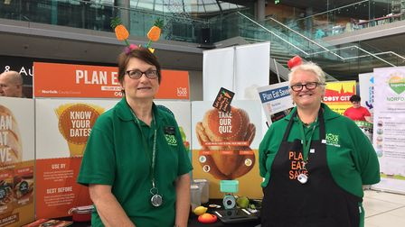 Vikki Betley and Maria Willis of Eat Plan Save at One Planet Norwich Festival in The Forum on June 9