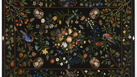 Pietre dure table-top, unknown artist, Florence, c1625, with coats-of-arms, c1638, stone inlay inclu