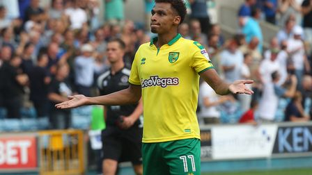 Josh Murphy of Norwich apologises to the traveling support at the end of the Sky Bet Championship ma