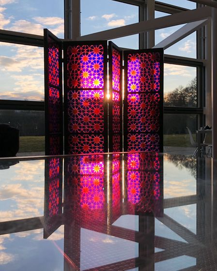Fez, Pink by Brian Clarke part of The Art of Light at the Sainsbury Centre. Photo: Christian Cuningh