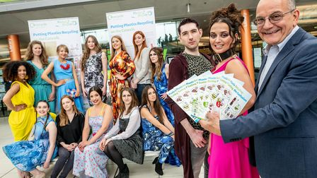 Cllr John Fisher, Chairman of the Norfolk Waste Partnership with finalists and models at the Recycle