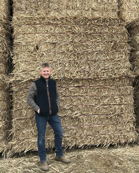 Norfolk farmer Andrew Bentley with harvested bales of miscanthus. Picture: Terravesta.