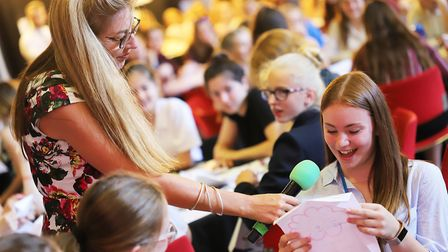 Students at the Inspiring Females summit asking questions for the panel. Picture: Norwich High Schoo