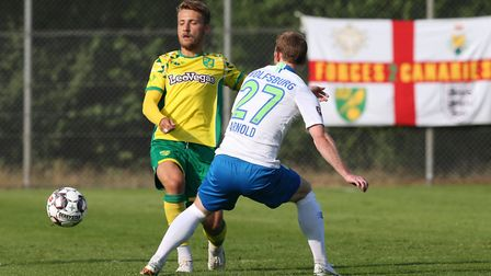 City midfielder Tom Trybull competes with Max Arnold of Wolfsburg Picture: Paul Chesterton/Focus Ima
