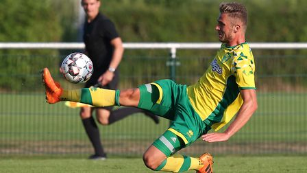 Dennis Srbeny at full stretch for the Canaries against Wolfsburg Picture: Paul Chesterton/Focus Imag