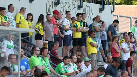 The traveling Norwich fans during the Friendly match at August Wenzel Stadium, BarsinghausenPicture