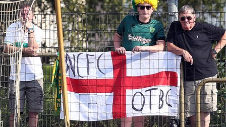 The traveling Norwich fans during the Pre-season Friendly match at Stadium Laumeskamp, Delbruck.Pict