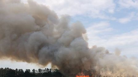 A fire has broken out in a field next to the Broadland Northway. Pic: @shakelikeshak