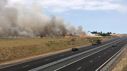 Fire off the Broadland Northway at the A140 junction. Photo: Lewis Denmark