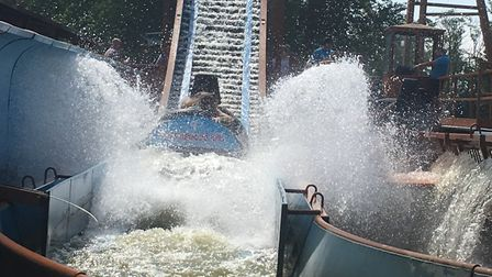 It's higher than a little bit high but not very high. Timber Falls fun at Pleasurewood Hills. Pictur