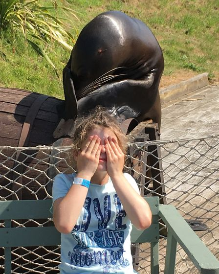 Thalia loved her photoshoot with Claude the sea lion.