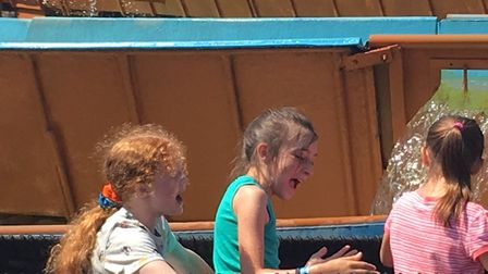 On their way on the log flume Timber Falls. Picture: contributed