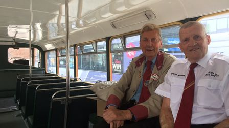 Transport Museum volunteers Dave Foulger and John Leggett in the LFL vintage bus outside the Forum.