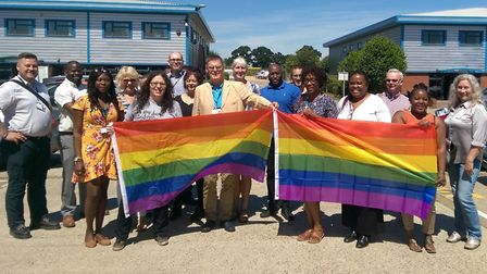 NSFT staff show their support for Norwich Pride 2018. Photo: NSFT
