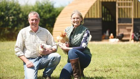 Simon and Karen O'Malley at Chestnut Farm Poultry in Hingham. Picture: Ian Burt