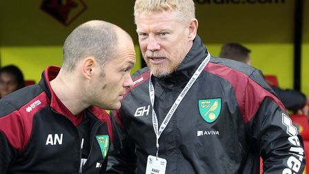 Former Norwich City player Gary Holt (right) during his time as first-team coach alongside manager A