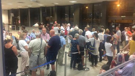 The scenes at the airport in Bulgaria last night (Image: Livvy Milligan)