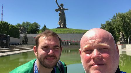 The boys take in the epic war memorial in Volgograd ahead of England's opening World Cup game agains