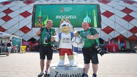 Archant's Norwich City photographer Paul Chesterton and son Dan outside the Spartak stadium ahead of