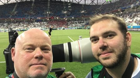 Archant's Norwich City photographer Paul Chesterton and son Dan ahead of the opening World Cup game
