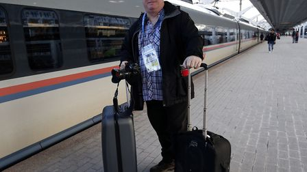 Archant's Norwich City photographer Paul Chesterton prepares to board the shuttle from St Petersburg