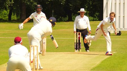 Michael Eccles in full flight for Swardeston during their match against Vauxhall Mallards at The Com