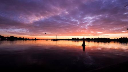 The stunning sunset over Oulton Broad on Sunday night. Picture: Ryan Grice