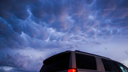 Mammatus above our chase vehicle, 27th May 2018 Credit: Dan Holley