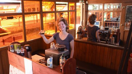 Arianna Fiorentini making a coffee at the temporary cafe bar at the The Vagabond pasta house and caf