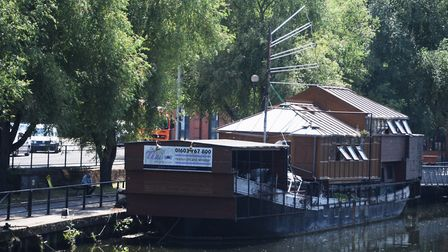 The old Thai restaurant river boat near Norwich Railway Station which is opening as The Vagabond pas