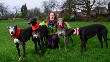 Annie Boddey, campaign coordinator for Action for Greyhounds, with some of the rescued dogs. Picture