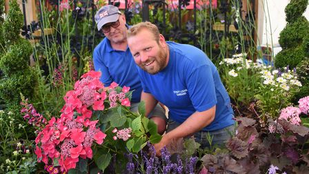 Kevin Bultitude, left, and Richard Hulbert of Stody Lodge Gardens get ready for the Royal Norfolk Sh