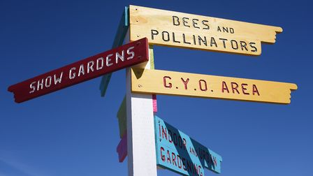 Colourful signpost at the Royal Norfolk Show. Picture: DENISE BRADLEY