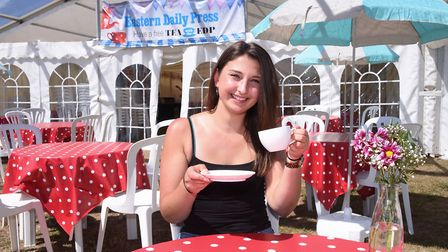 Steff Griffin enjoying her free cup of tea at the EDP tea tent at the Royal Norfolk Show. Picture: D
