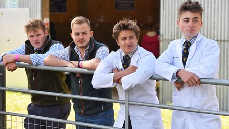 Young farmers Thomas Dain, Josh Hall, Alex Fearn and Oli Page at the Royal Norfolk Show 2018.Picture