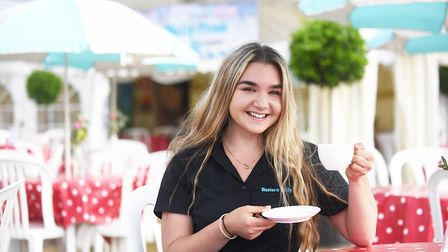 Gabriella Harvey-Mobbs enjoying a cup of tea in the Eastern Daily Press marquee. Picture: Ian Burt