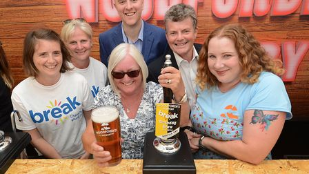 Royal Norfolk Show, 2018. Woodfordes competition winner, Dalene McShane-Loyd, with the Birthday Brew