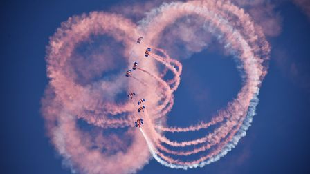 Royal Norfolk Show, 2018. RAF Falcons Parachute Display Team.Picture: ANTONY KELLY
