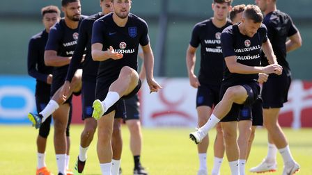 England's players in training in Russia ahead of their group decider against Belgium Picture: Owen H