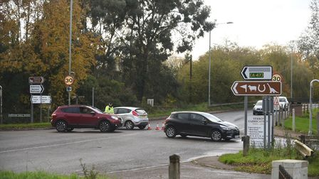 Police are diverting traffic on the A1067 after a four-vehicle crash between Great Witchingham and S