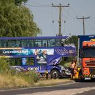 Fatal Bus RTC on the A47. Bus and Lorry cleared by Ratcliff Recovery, A47, Peterborough 26/06/2018.