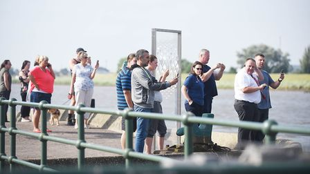 Crowds lined the quay to get a glimpse of the Fin Whale in the River Ouse in King's Lynn. Picture: I