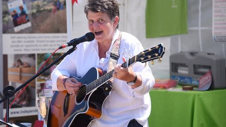 Marina Florance plays on the Deepdale Backpackers and Camping stand at the Royal Norfolk Show. Pictu