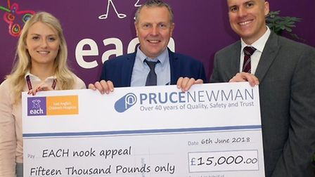 Pruce Newman in Wymondham has raised 15,000 for the EACH Nook appeal. From left, Sophie Mayes, EACH