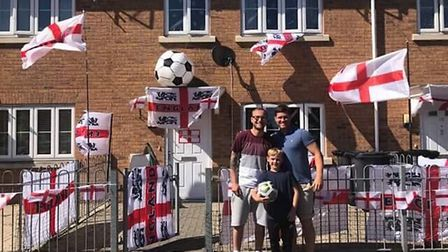 James Webb with fellow patriotic neighbour Rob Nicholls and his son Frankie in GorlestonPicture: Kay