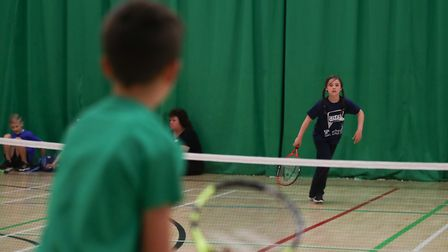 Action from the primary schools mini tennis finals at the Norfolk Schools Games Picture: Mike Fitt