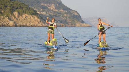 Cat Friend of Sprowston, with Valerie Bisbal, on their paddleboard journey. Pic: Soller To Soller.