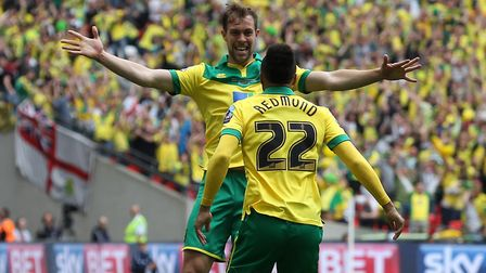 Steven Whittaker congratulates Nathan Redmond on his play-off final goal Picture: Paul Chesterton/Fo